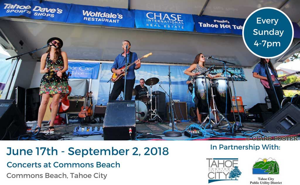 Concerts at Commons Beach in Tahoe City - Brought to you by the Tahoe City Downtown Association and Tahoe City PUD